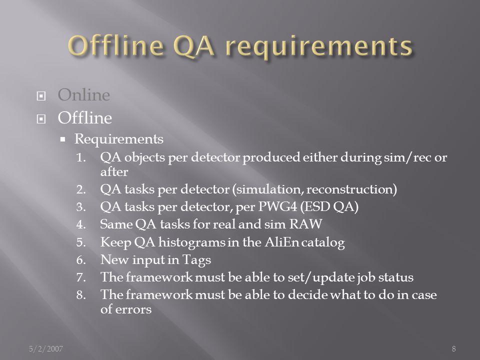  Aliroot –b –q QA.C  AliQualAssChecker qac ;  qac.SetRefDir( …/…/…/) ;  qac.SetOutDir( …/…/…/);  qac.Run() ;  To be run after sim.C and rec.C  The QA data file is on the local dir of the WN 5/2/200719