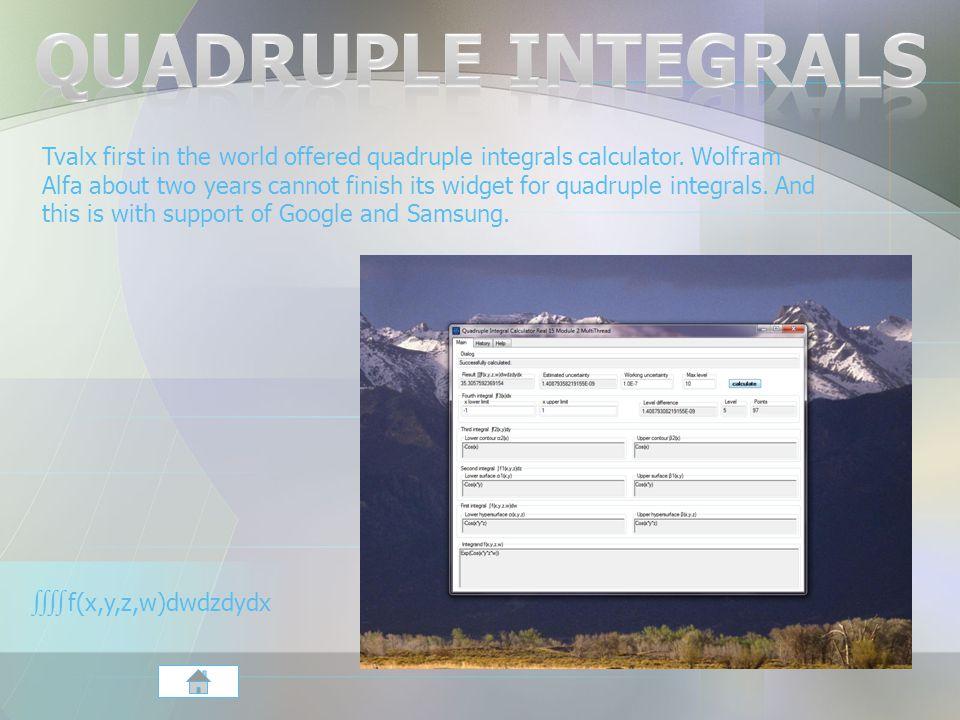 Tvalx first in the world offered quadruple integrals calculator.