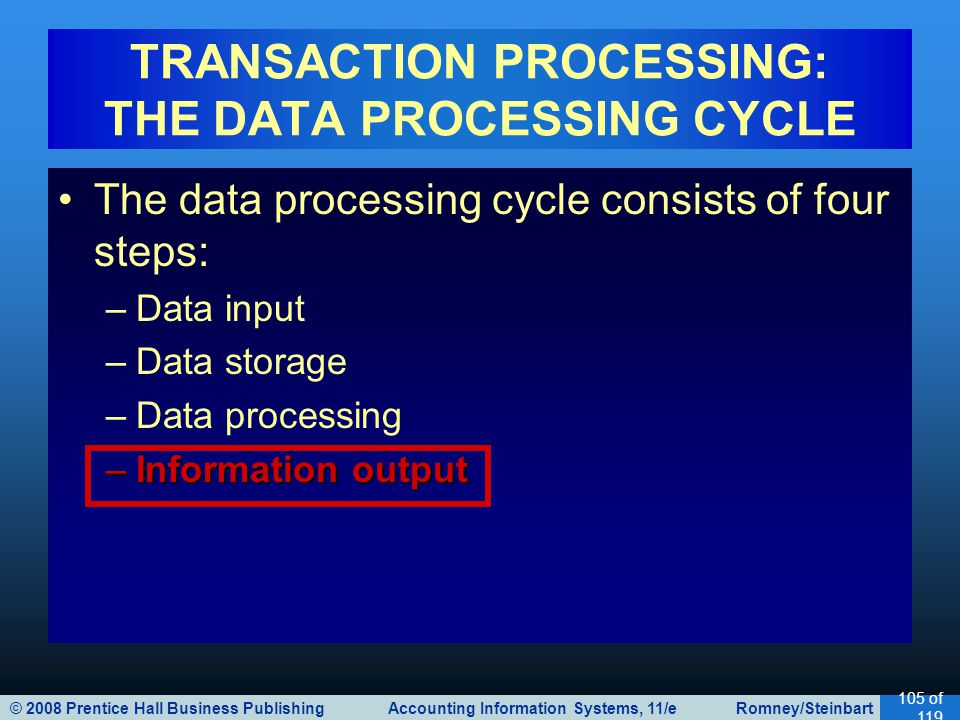 © 2008 Prentice Hall Business Publishing Accounting Information Systems, 11/e Romney/Steinbart 105 of 119 The data processing cycle consists of four s
