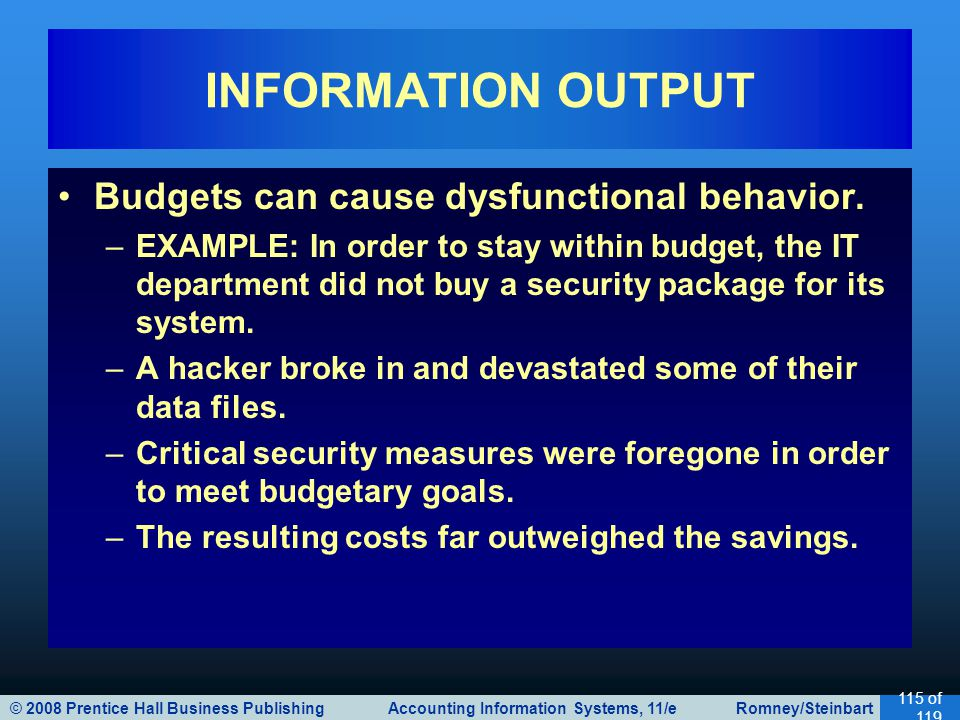 © 2008 Prentice Hall Business Publishing Accounting Information Systems, 11/e Romney/Steinbart 115 of 119 Budgets can cause dysfunctional behavior. –E