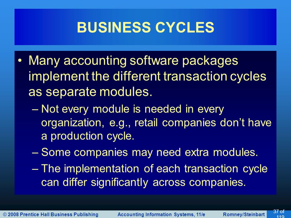 © 2008 Prentice Hall Business Publishing Accounting Information Systems, 11/e Romney/Steinbart 37 of 119 Many accounting software packages implement t