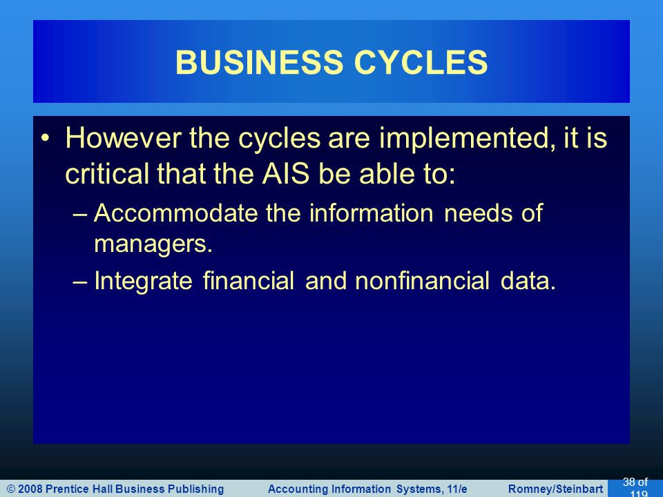 © 2008 Prentice Hall Business Publishing Accounting Information Systems, 11/e Romney/Steinbart 38 of 119 However the cycles are implemented, it is cri