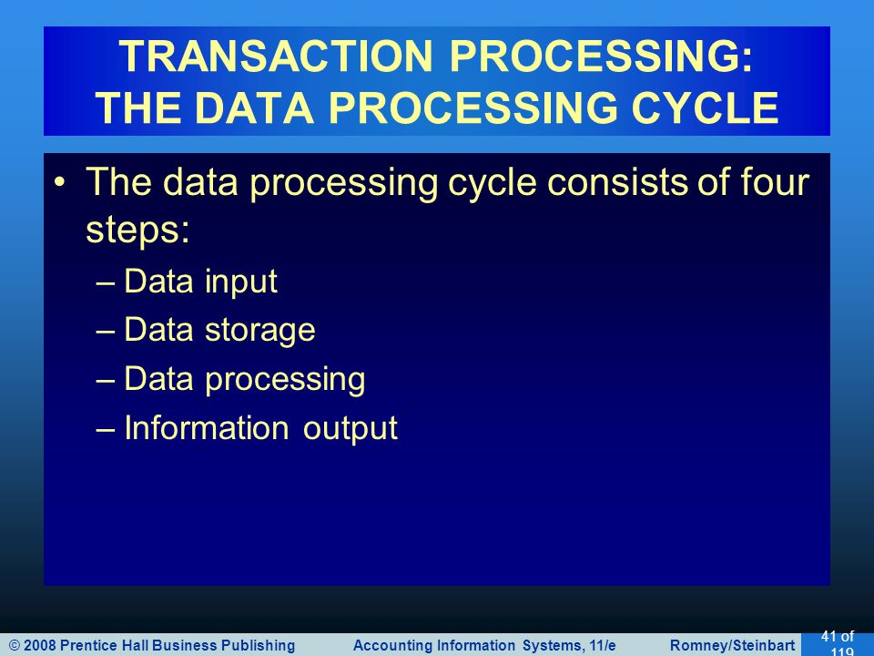 © 2008 Prentice Hall Business Publishing Accounting Information Systems, 11/e Romney/Steinbart 41 of 119 The data processing cycle consists of four steps: –Data input –Data storage –Data processing –Information output TRANSACTION PROCESSING: THE DATA PROCESSING CYCLE