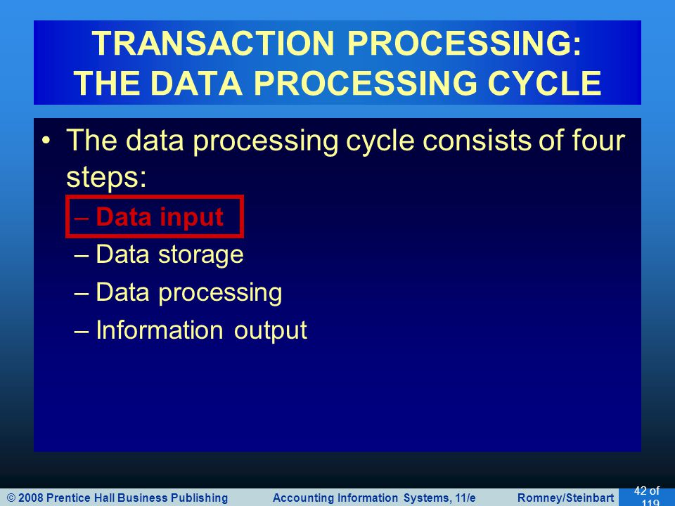 © 2008 Prentice Hall Business Publishing Accounting Information Systems, 11/e Romney/Steinbart 42 of 119 The data processing cycle consists of four steps: –Data input –Data storage –Data processing –Information output TRANSACTION PROCESSING: THE DATA PROCESSING CYCLE