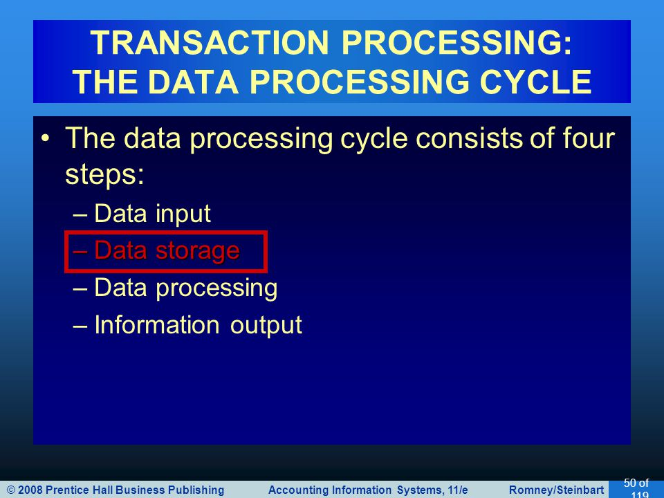 © 2008 Prentice Hall Business Publishing Accounting Information Systems, 11/e Romney/Steinbart 50 of 119 The data processing cycle consists of four steps: –Data input –Data storage –Data processing –Information output TRANSACTION PROCESSING: THE DATA PROCESSING CYCLE