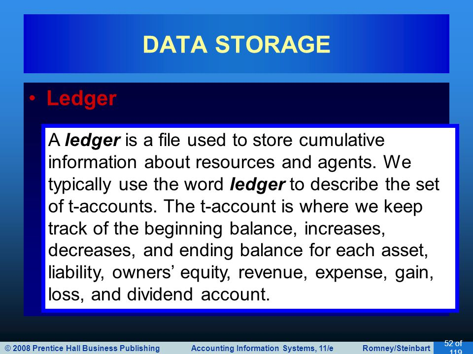 © 2008 Prentice Hall Business Publishing Accounting Information Systems, 11/e Romney/Steinbart 52 of 119 Ledger DATA STORAGE A ledger is a file used to store cumulative information about resources and agents.