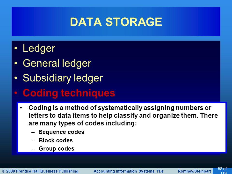 © 2008 Prentice Hall Business Publishing Accounting Information Systems, 11/e Romney/Steinbart 58 of 119 Ledger General ledger Subsidiary ledger Codin