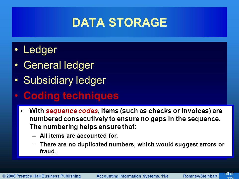 © 2008 Prentice Hall Business Publishing Accounting Information Systems, 11/e Romney/Steinbart 59 of 119 Ledger General ledger Subsidiary ledger Codin