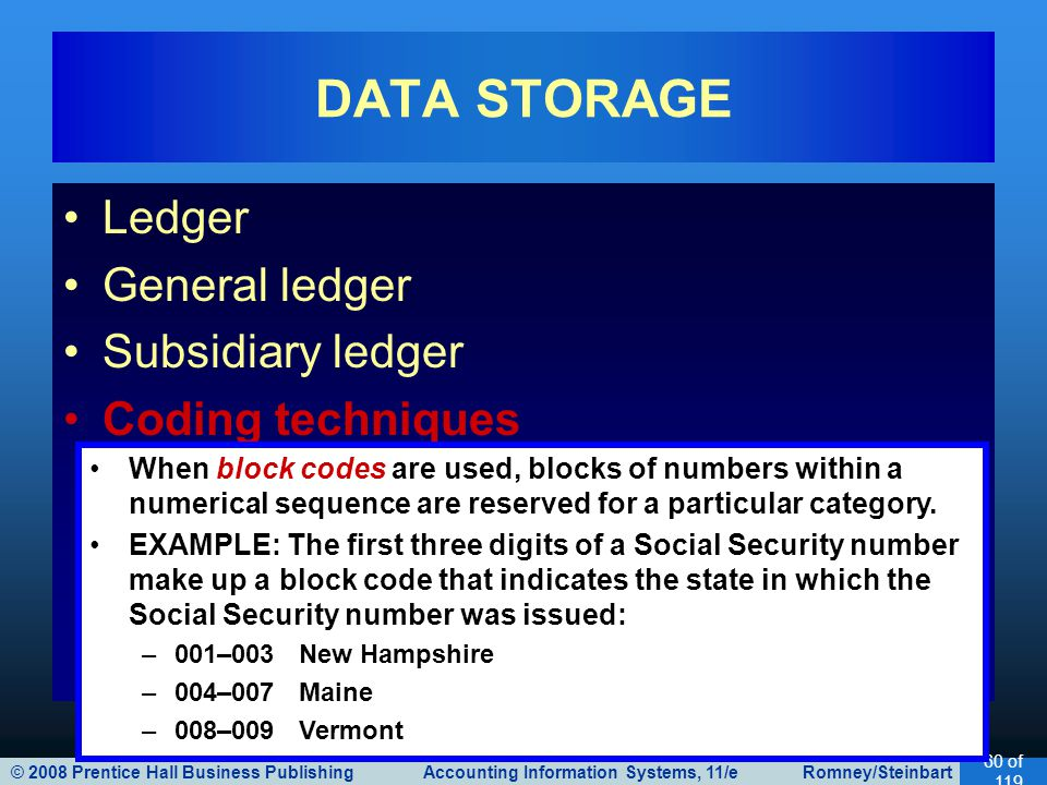 © 2008 Prentice Hall Business Publishing Accounting Information Systems, 11/e Romney/Steinbart 60 of 119 Ledger General ledger Subsidiary ledger Coding techniques DATA STORAGE When block codes are used, blocks of numbers within a numerical sequence are reserved for a particular category.