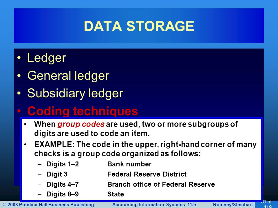 © 2008 Prentice Hall Business Publishing Accounting Information Systems, 11/e Romney/Steinbart 61 of 119 Ledger General ledger Subsidiary ledger Coding techniques DATA STORAGE When group codes are used, two or more subgroups of digits are used to code an item.