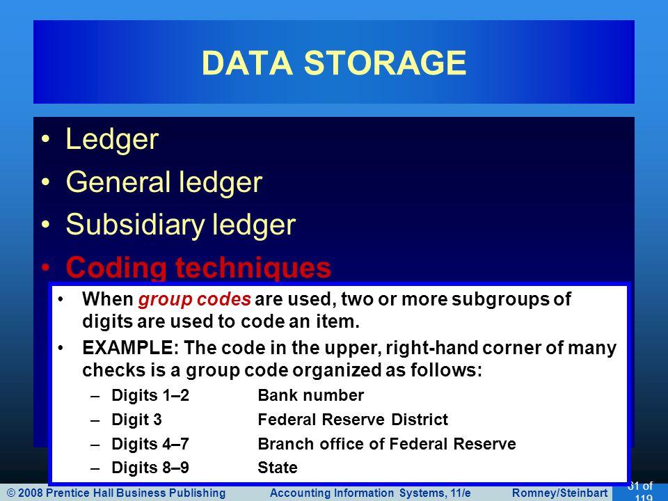 © 2008 Prentice Hall Business Publishing Accounting Information Systems, 11/e Romney/Steinbart 61 of 119 Ledger General ledger Subsidiary ledger Codin
