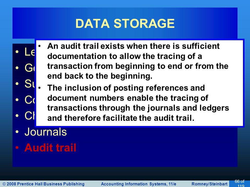 © 2008 Prentice Hall Business Publishing Accounting Information Systems, 11/e Romney/Steinbart 66 of 119 Ledger General ledger Subsidiary ledger Codin