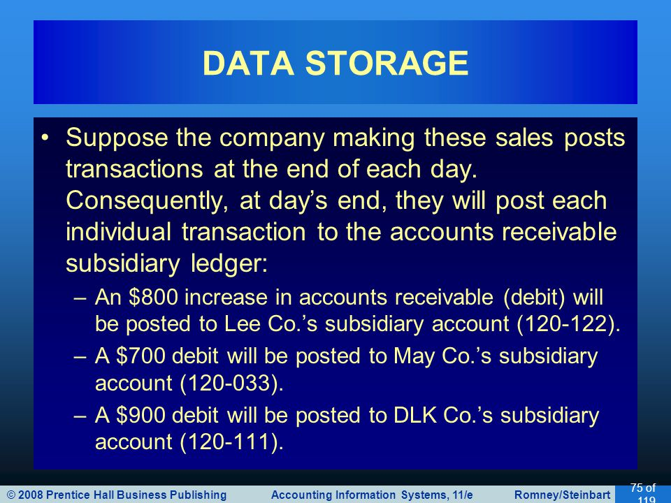 © 2008 Prentice Hall Business Publishing Accounting Information Systems, 11/e Romney/Steinbart 75 of 119 Suppose the company making these sales posts
