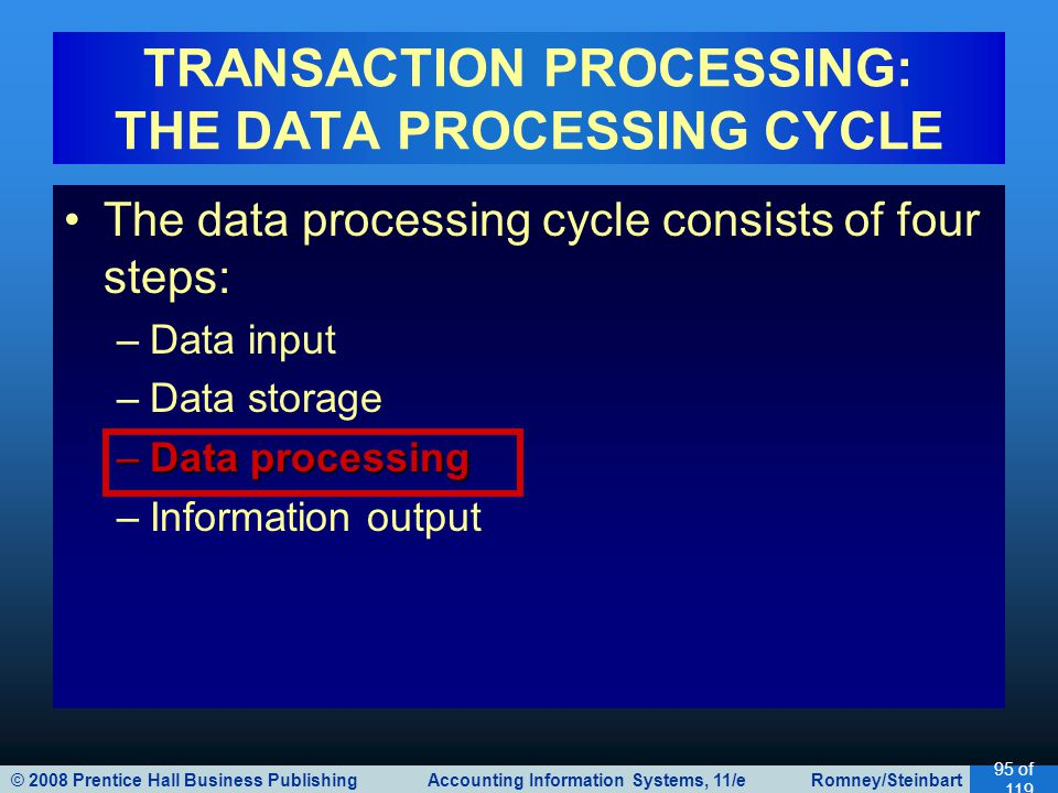 © 2008 Prentice Hall Business Publishing Accounting Information Systems, 11/e Romney/Steinbart 95 of 119 The data processing cycle consists of four st