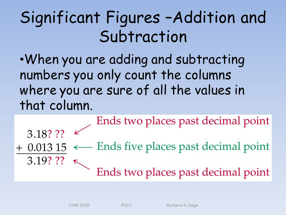 Significant Figures –Addition and Subtraction CHM 1030 PGCC Barbara A.