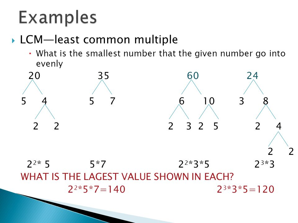  LCM—least common multiple  What is the smallest number that the given number go into evenly 20356024 5 4 5 7 6 10 3 8 2 2 2 3 2 5 2 4 2 2 2 2 * 5 5*7 2 2 *3*5 2 3 *3 WHAT IS THE LAGEST VALUE SHOWN IN EACH.