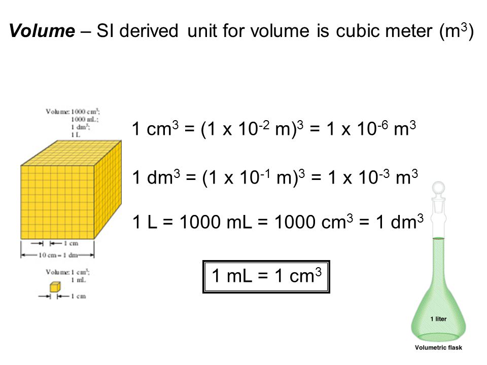 13 Volume – SI derived unit for volume is cubic meter (m 3 ) 1 cm 3 = (1 x 10 -2 m) 3 = 1 x 10 -6 m 3 1 dm 3 = (1 x 10 -1 m) 3 = 1 x 10 -3 m 3 1 L = 1000 mL = 1000 cm 3 = 1 dm 3 1 mL = 1 cm 3