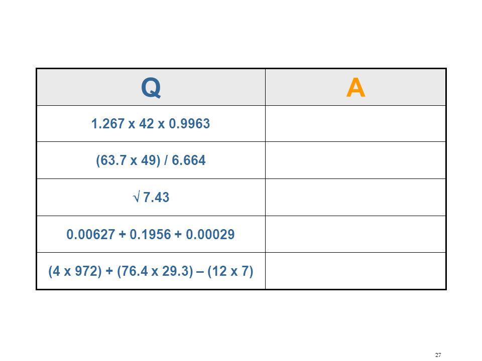 27 AQ (4 x 972) + (76.4 x 29.3) – (12 x 7) 0.00627 + 0.1956 + 0.00029  7.43 (63.7 x 49) / 6.664 1.267 x 42 x 0.9963