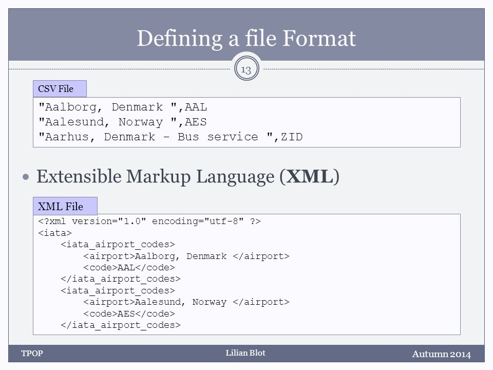Lilian Blot Defining a file Format Extensible Markup Language (XML) Autumn 2014 TPOP 13 Aalborg, Denmark ,AAL Aalesund, Norway ,AES Aarhus, Denmark - Bus service ,ZID CSV File Aalborg, Denmark AAL Aalesund, Norway AES XML File