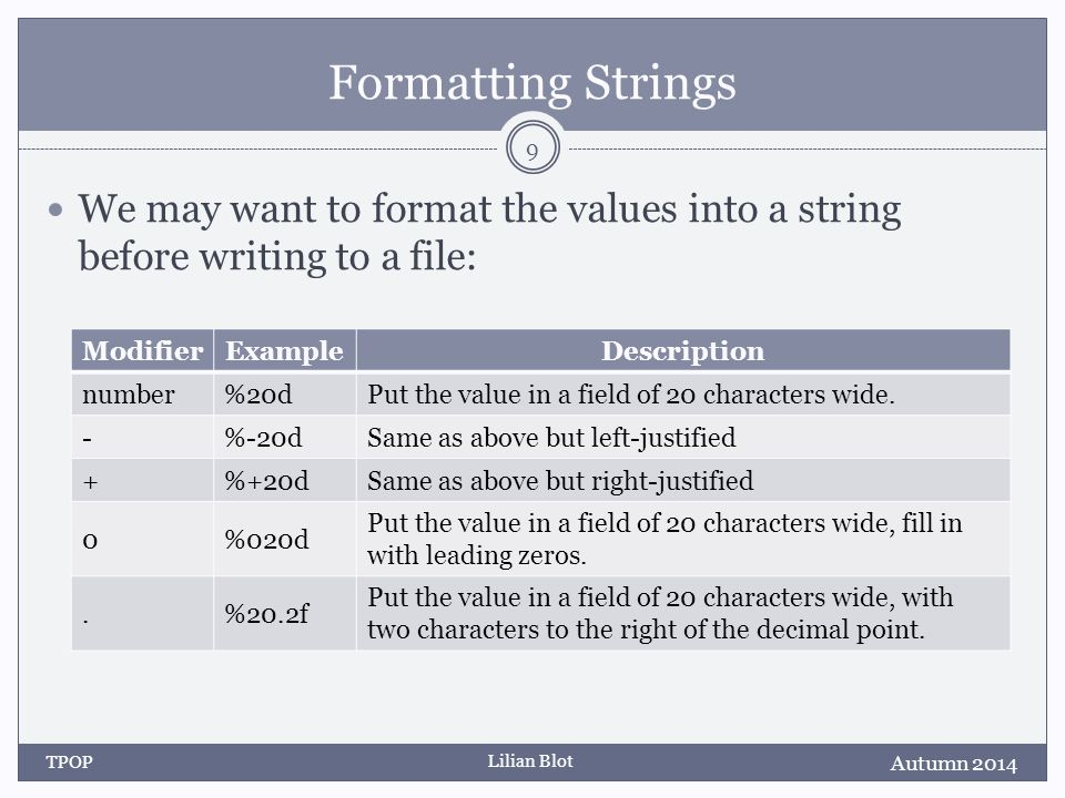 Lilian Blot Formatting Strings We may want to format the values into a string before writing to a file: Autumn 2014 TPOP 9 ModifierExampleDescription