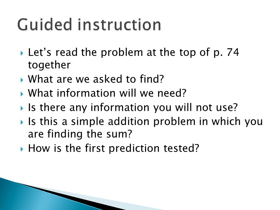  Let's read the problem at the top of p. 74 together  What are we asked to find.