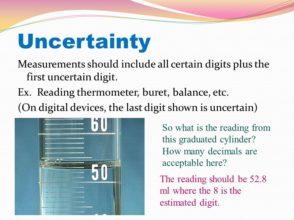 Uncertainty Measurements should include all certain digits plus the first uncertain digit.