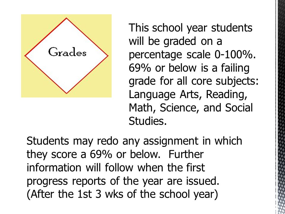 This school year students will be graded on a percentage scale 0-100%.