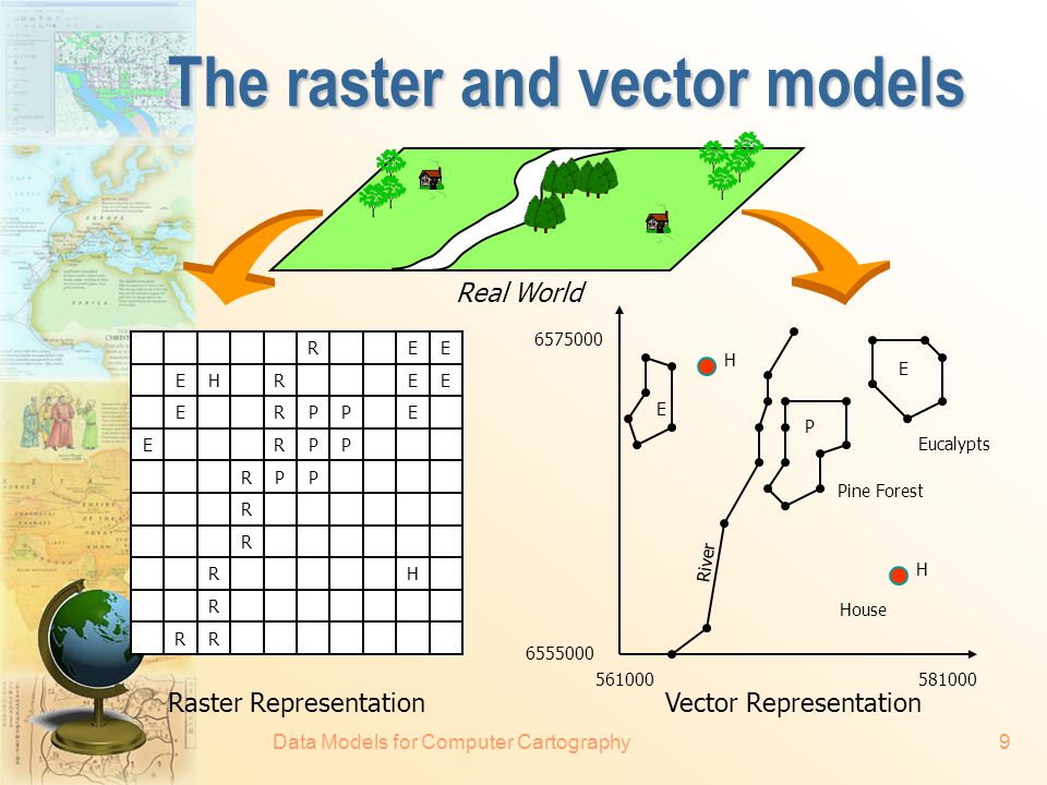 Data Models for Computer Cartography8 Spatial data models  There are two fundamental approaches towards the representation of the spatial component of geographical information — the raster and vector models.