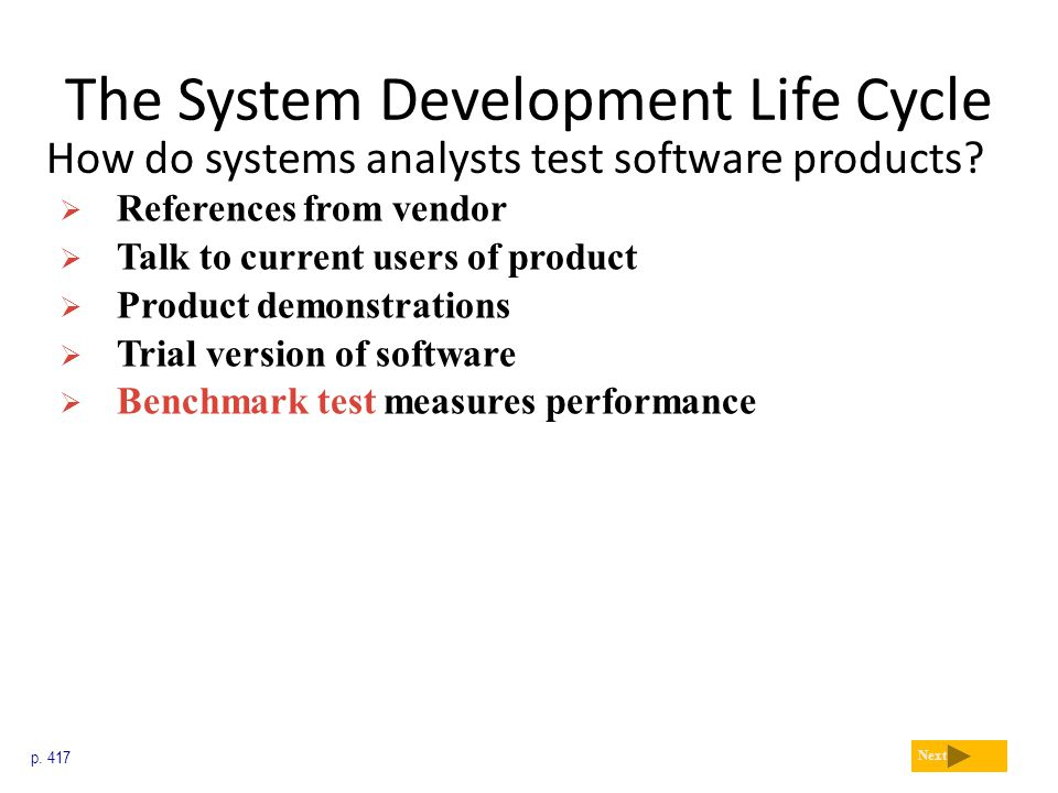 The System Development Life Cycle How do systems analysts test software products? p. 417 Next  References from vendor  Talk to current users of prod