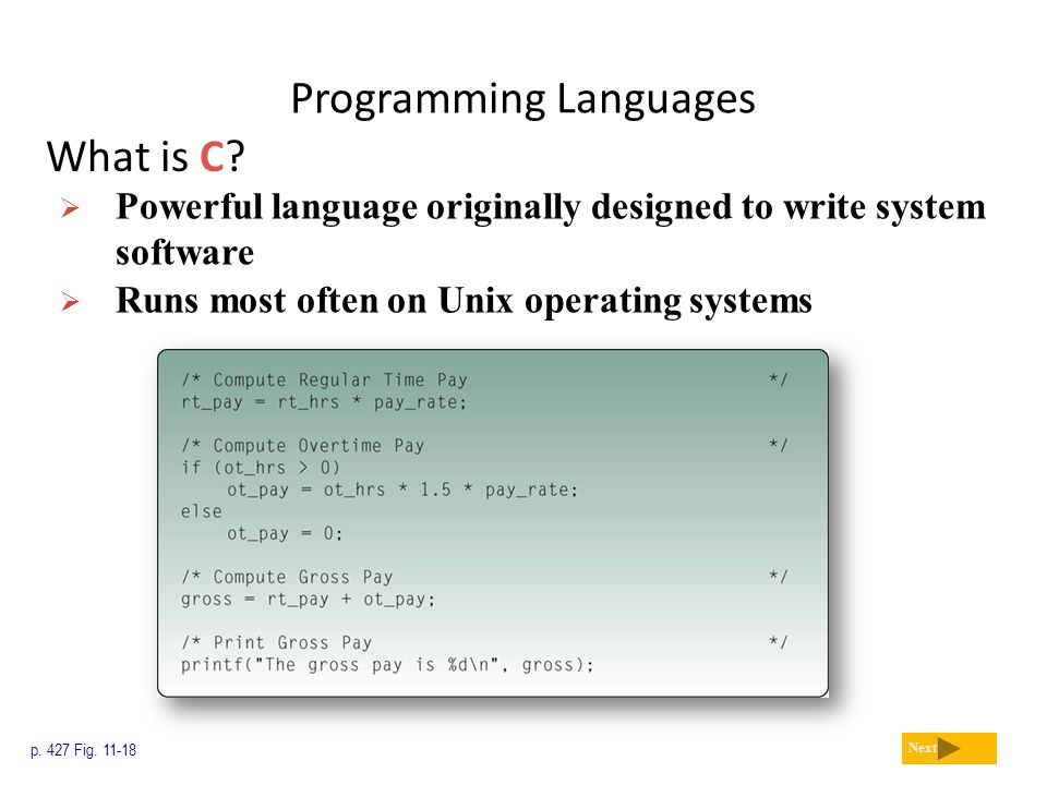 Programming Languages What is C? p. 427 Fig. 11-18 Next  Powerful language originally designed to write system software  Runs most often on Unix ope