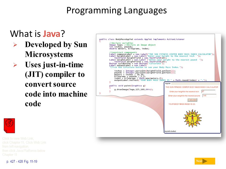 Programming Languages What is Java? p. 427 - 428 Fig. 11-19 Next  Developed by Sun Microsystems  Uses just-in-time (JIT) compiler to convert source