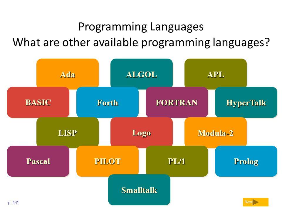 Programming Languages What are other available programming languages? p. 431 Next ALGOLALGOLAdaAdaAPLAPL BASICBASICHyperTalkHyperTalkFORTRANFORTRANFor
