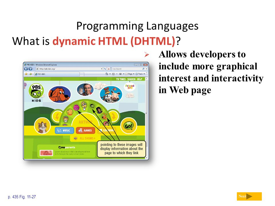 Programming Languages What is dynamic HTML (DHTML)? p. 435 Fig. 11-27 Next  Allows developers to include more graphical interest and interactivity in