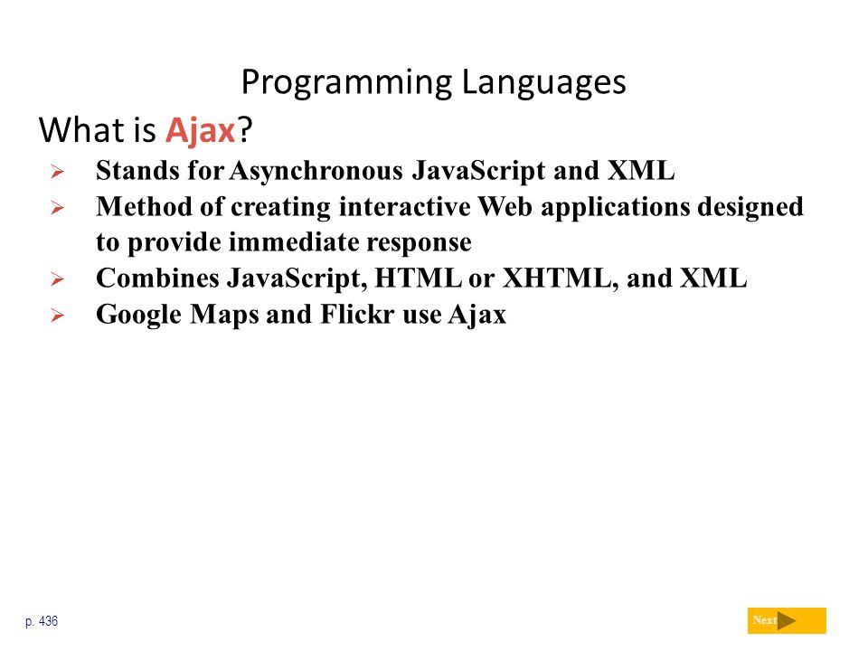 Programming Languages What is Ajax? p. 436 Next  Stands for Asynchronous JavaScript and XML  Method of creating interactive Web applications designe