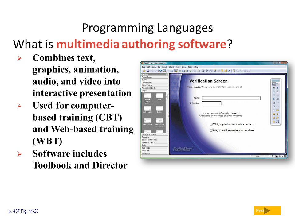 Programming Languages What is multimedia authoring software? p. 437 Fig. 11-28 Next  Combines text, graphics, animation, audio, and video into intera