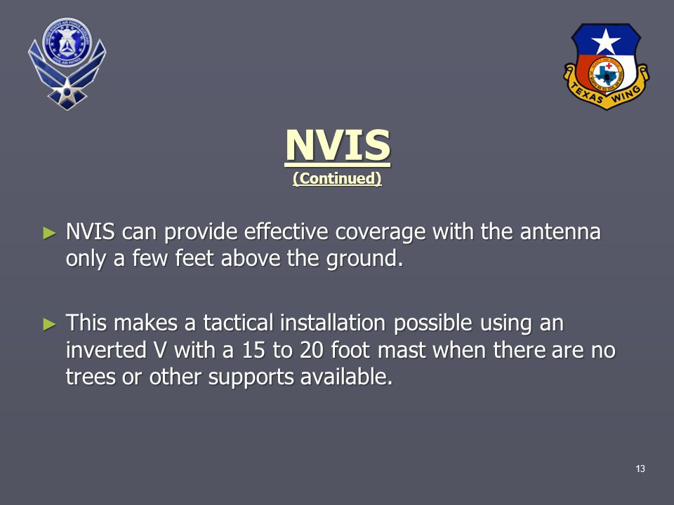 13 NVIS (Continued) ► NVIS can provide effective coverage with the antenna only a few feet above the ground.