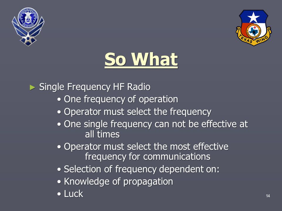 14 So What ► Single Frequency HF Radio One frequency of operation One frequency of operation Operator must select the frequency Operator must select the frequency One single frequency can not be effective at all times One single frequency can not be effective at all times Operator must select the most effective frequency for communications Operator must select the most effective frequency for communications Selection of frequency dependent on: Selection of frequency dependent on: Knowledge of propagation Knowledge of propagation Luck Luck