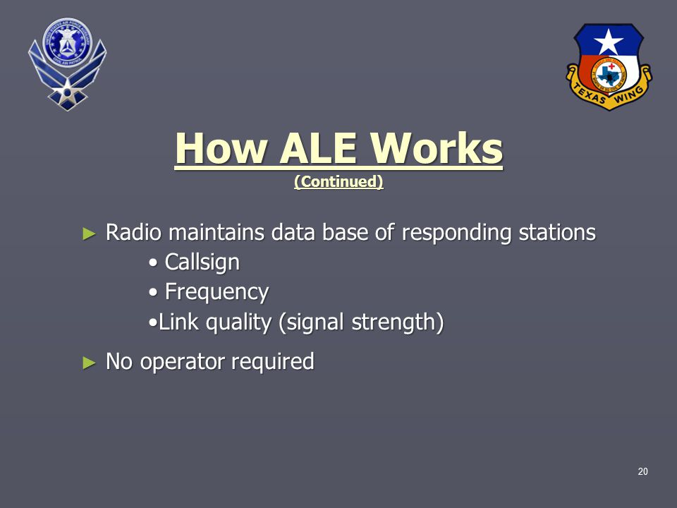 How ALE Works (Continued) ► Radio maintains data base of responding stations Callsign Callsign Frequency Frequency Link quality (signal strength) ► No operator required 20