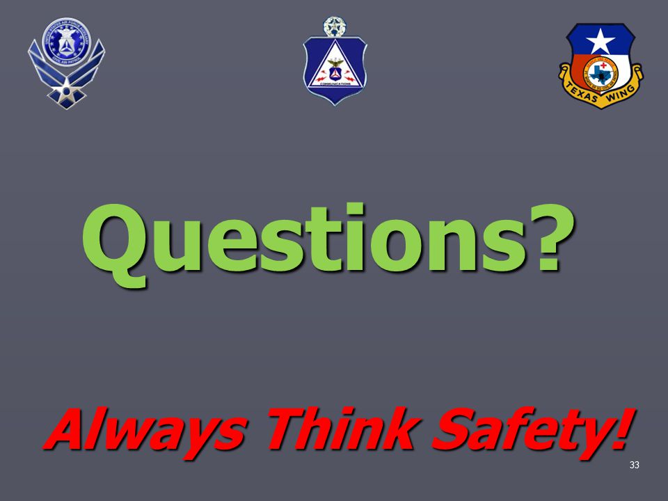 33 Questions Always Think Safety!