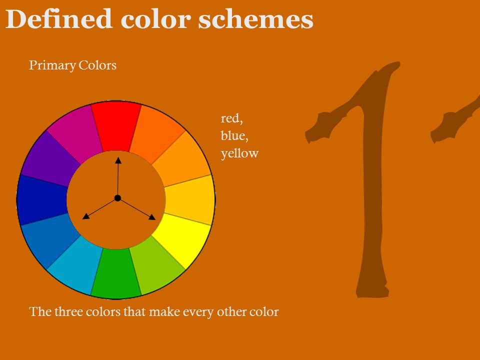 11 Defined color schemes Primary Colors red, blue, yellow The three colors that make every other color