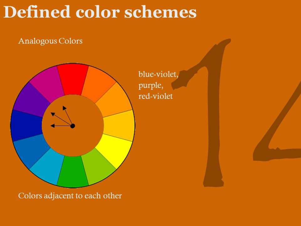 14 Defined color schemes Analogous Colors blue-violet, purple, red-violet Colors adjacent to each other