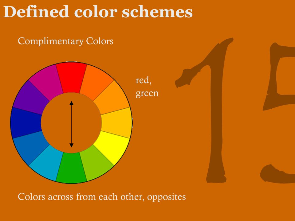 15 Defined color schemes Complimentary Colors red, green Colors across from each other, opposites