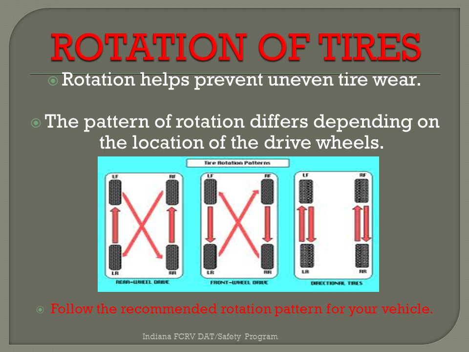  Rotation helps prevent uneven tire wear.