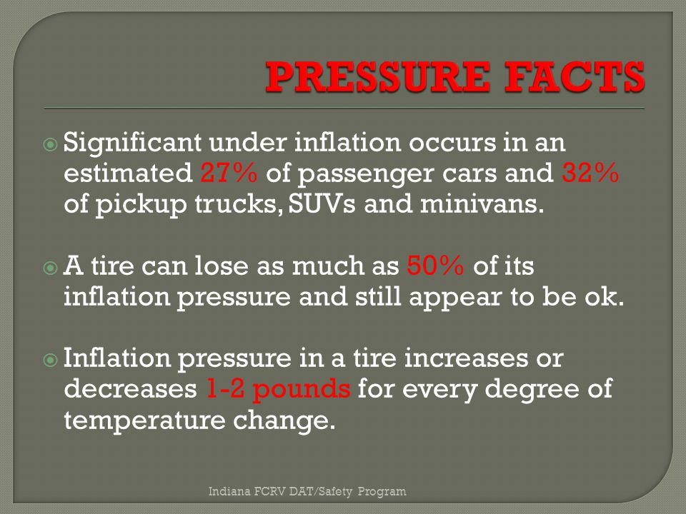  Significant under inflation occurs in an estimated 27% of passenger cars and 32% of pickup trucks, SUVs and minivans.
