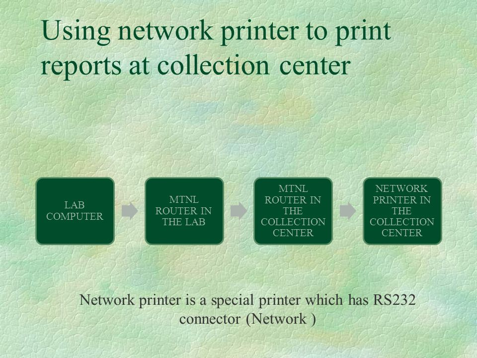 Using network printer to print reports at collection center LAB COMPUTER MTNL ROUTER IN THE LAB MTNL ROUTER IN THE COLLECTION CENTER NETWORK PRINTER I