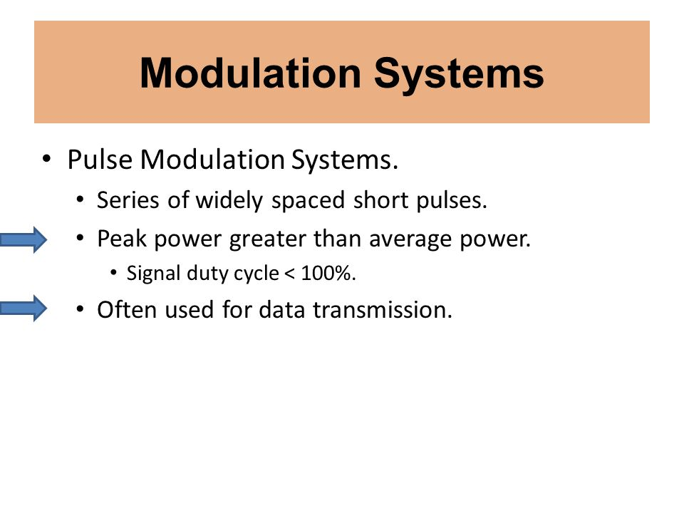 Modulation Systems Pulse Modulation Systems. Series of widely spaced short pulses. Peak power greater than average power. Signal duty cycle < 100%. Of