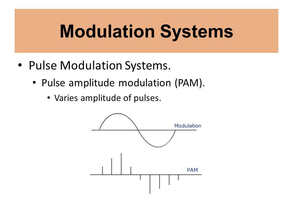 Modulation Systems Pulse Modulation Systems. Pulse amplitude modulation (PAM). Varies amplitude of pulses.