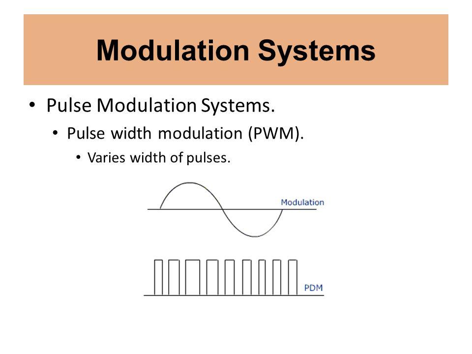 Modulation Systems Pulse Modulation Systems. Pulse width modulation (PWM). Varies width of pulses.