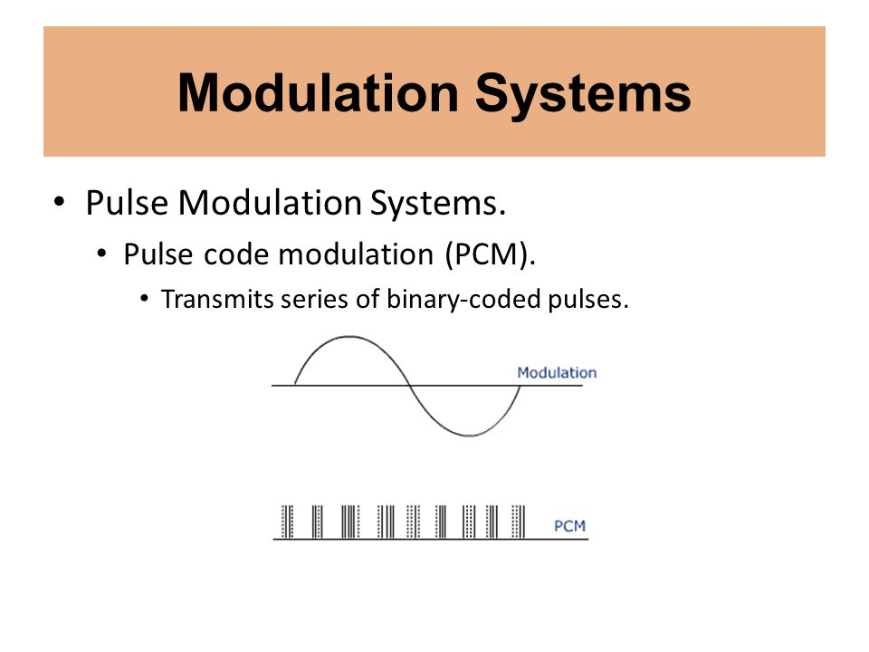 Modulation Systems Pulse Modulation Systems. Pulse code modulation (PCM). Transmits series of binary-coded pulses.