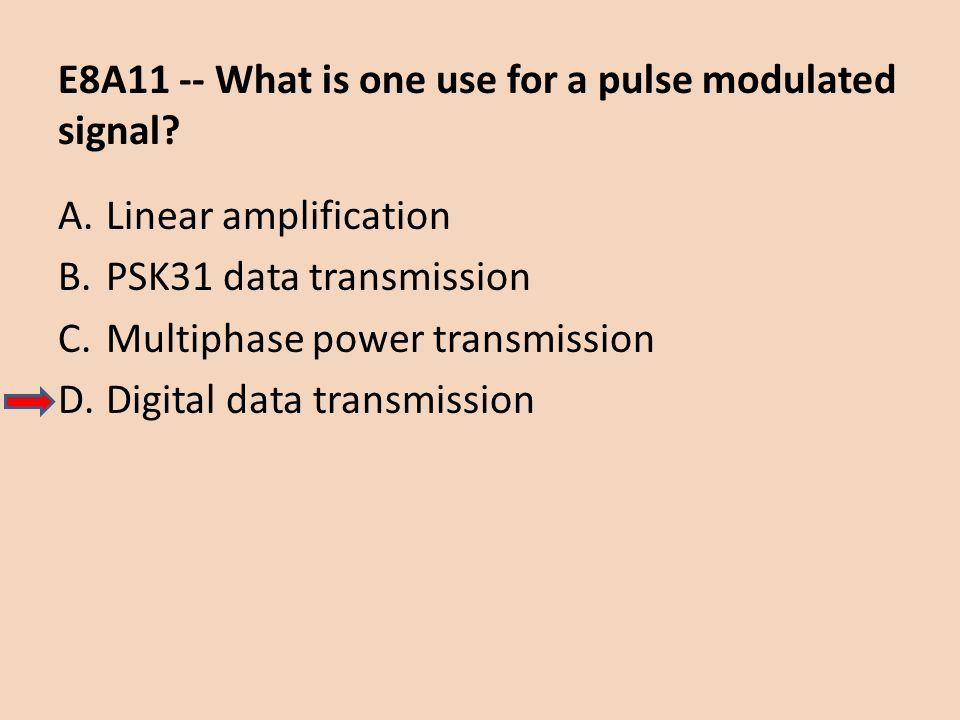 E8A11 -- What is one use for a pulse modulated signal? A.Linear amplification B.PSK31 data transmission C.Multiphase power transmission D.Digital data